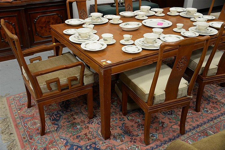 Dining Table With Two 18 Inch Leaves And Eight Chinese Style Chairs