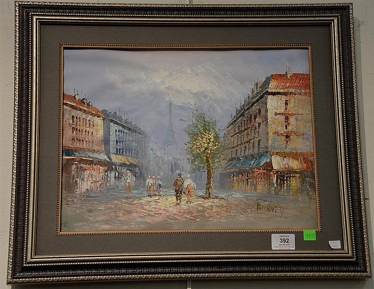 Caroline C  Burnett (19/20th century) Paris Streets oil on c