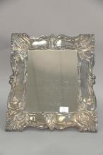 Victorian sterling silver repousse framed mirror marked Made in Peru 925 esterlia? La Diz  ht. 18in., wd. 15 1/2in., inside: 12