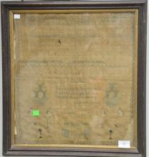19th century school sampler Jane Dixon Aged 11 Years 1826,