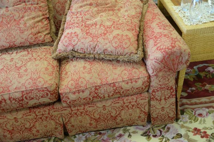 henredon red and tan paisley upholstered sofa having rolled