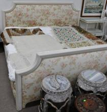 King size bed with upholstered rose headboard and footboard. ht. 42in.