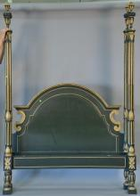 Baker queen size four post bed having gilt stop fluted post. ht. 92in.