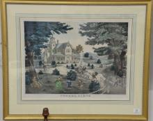 """Patrick Farrell, colored lithograph, """"Summer Scene"""", drawn and printed by Charles Hart. sight size 20"""" x 26"""" Property from Credit..."""