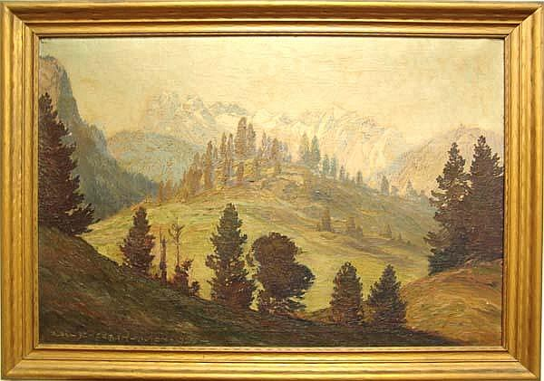 Alexander Scherban (1886 - 1964) AUTUMN MOUNTAINOUS LANDSCAPE oil on canvas signed and dated lower left Alex Scherban Wien 1920