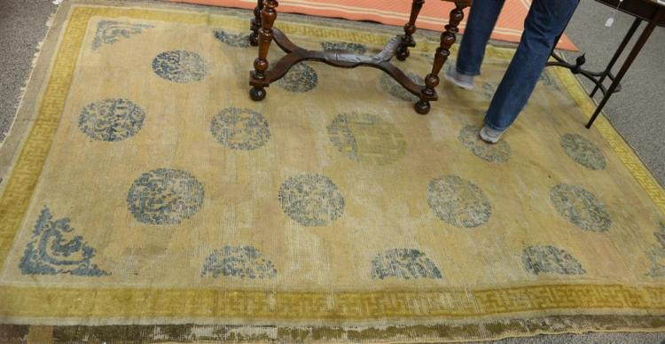 5cb7a68c70ab3 Chinese oriental area rug with gold border, 19th century (ve