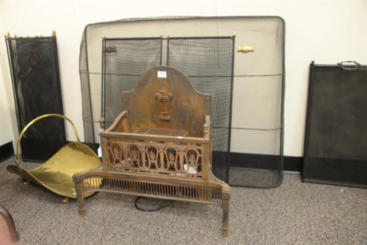 Assorted Lot Of Fireplace Items To Include An Iron Fire Back Four