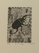 """Tony Fitzpatrick (b. 1958), etching with aquatint, """"Stay"""", artist proof, initialed lower right: T.F. 97 (unframed). plate size: 3"""" x..."""