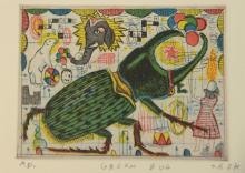 """Tony Fitzpatrick, (b. 1958), etching with aquatint in color, """"Green Bug"""", artist proof, initialed lower right: T.F. 2k, plate size:..."""