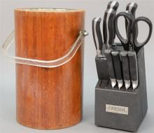 Assorted lot of kitchen wear to include two mid century ice buckets, chrome serving pieces, Oneida knife set, etc., along with appro...