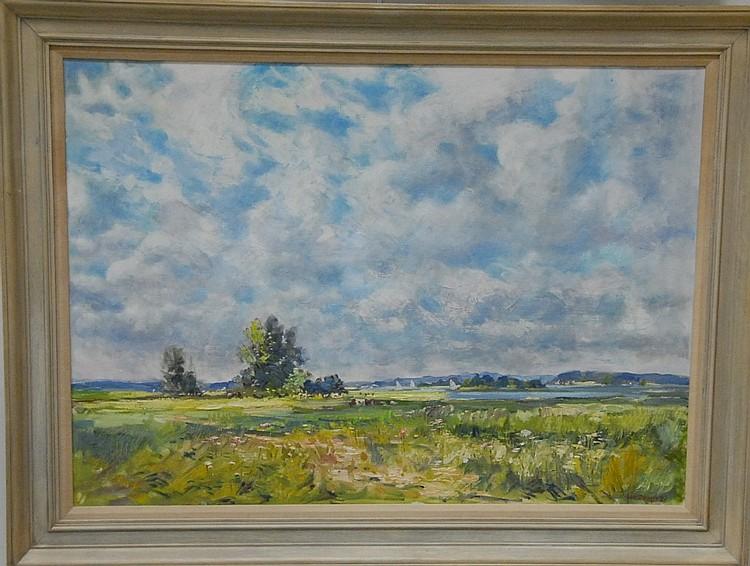 Roger Wilson Denis (1902-1996) Lyme Shoreline oil on canvas signed lower right Roger Dennis 65 26