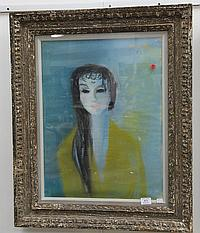 """HANS ROBERT PIPPAL (1915-1998) BUST OF A GIRL pastel signed top right Pippal 51 24"""" x 18"""""""