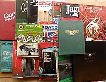 Two boxes  books- Jaguar, Corvette, misc British cars and 4 bound vol of Motor magazine 1952-53