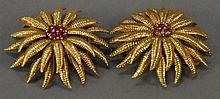 Tiffany 18K gold pair of floral pins, center set with 7 small rubies, pins marked Tiffany & Co. Italy. 33.7 grams