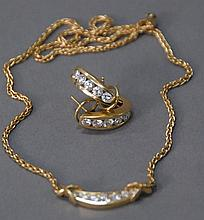 18k three piece lot to include pair of earrings, each with five diamonds along with a chain and pendant mounted with diamonds, 27.7 ...