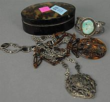Tortoise shell style oval box and medallion along with miscellaneous silver jewelry including bracelet.