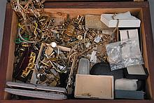 Box lot of Victorian and silver jewelry and watch chains.