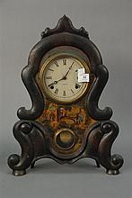 Victorian iron mantle clock with original paint, C. Jerome. ht. 20 1/2in.