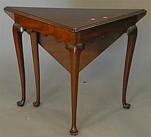 Custom mahogany Queen Anne drop leaf table.