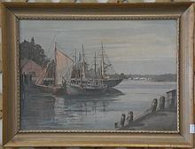 Bruce Elliot Roberts (1917-1993), oil on board, sailboats at dock. 14