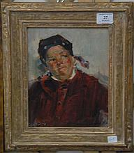 Arthur William Woelfle (1873-1936) oil on board, bust of man in red, signed lower right Arthur W. Woelfle. 10