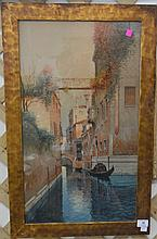 Watercolor of Italian canal, signed indistinctly lower right. 26 1/2
