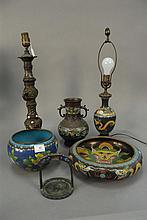 Six piece cloisonne lot including stirrup, three vases, bowl, and bronze and cloisonné 3-tiered candlestick ht. 18in.