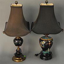 Two piece lot to include silver overlay black porcelain lamp and cloisonne vase made into table lamp ht. 25in.