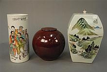 Three piece Oriental lot to include Chinese sleeve form vase ht. 11in., square covered jar ht. 12in., and covered jar ht. 8in.