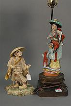 Two porcelain standing figures, one of Japanese scholar ht. 12in. and one of a Guanyin made into a table lamp.