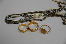 Group of three gold rings, 18K & 10K and a watch chain, 16.3 grams.