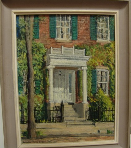 Framed oil painting on artist's board, view of doorway of one of the