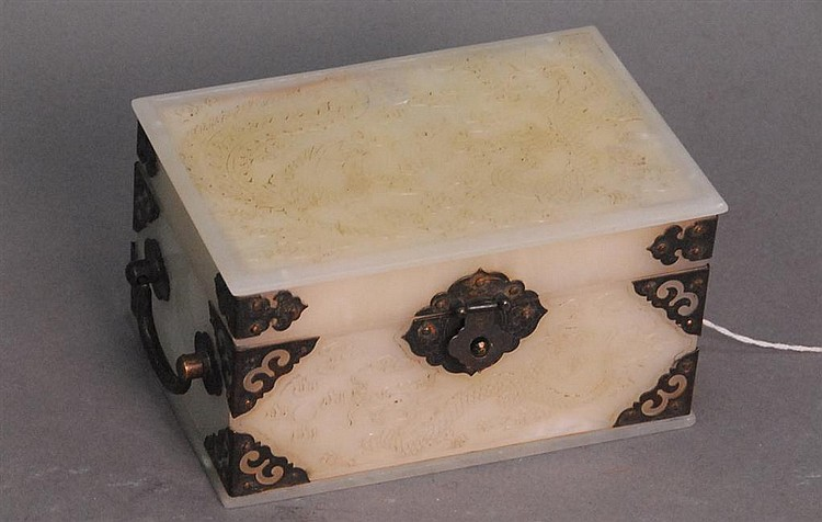Chinese white jade box and cover, silver corners and lock, dragon and phoenix in relief