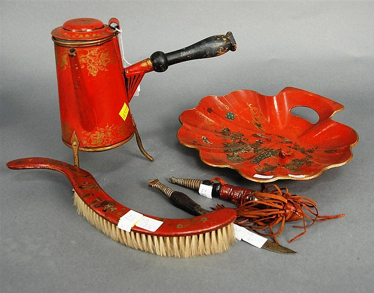 Five piece Oriental group to include a red lacquered shell shaped dish 12in., brush lg. 13 1/2in., red painted tin teapot, and two k...