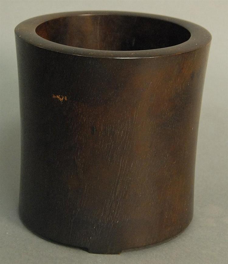 Huanghuali wood brush pot, ht. 6in.; dia. 6in.