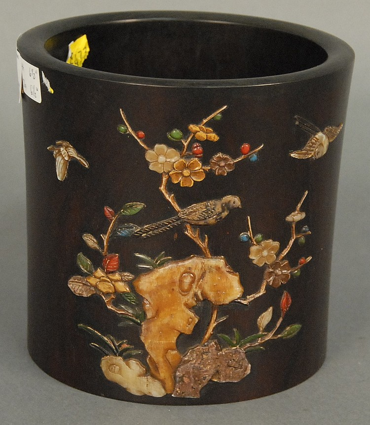 Hardwood brush pot mounted with coral, hard stone, and mother of pearl made into flowers and birds having character marks made of bo...