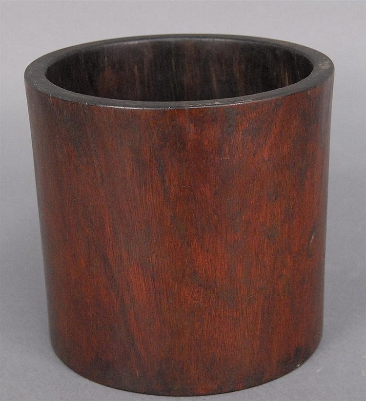 Hardwood brush pot (missing bottom stopper) ht. 7 1/2in.; dia. 8in.