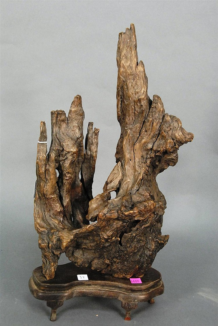 Carved burl wood sculpture on stand, ht. 18in.