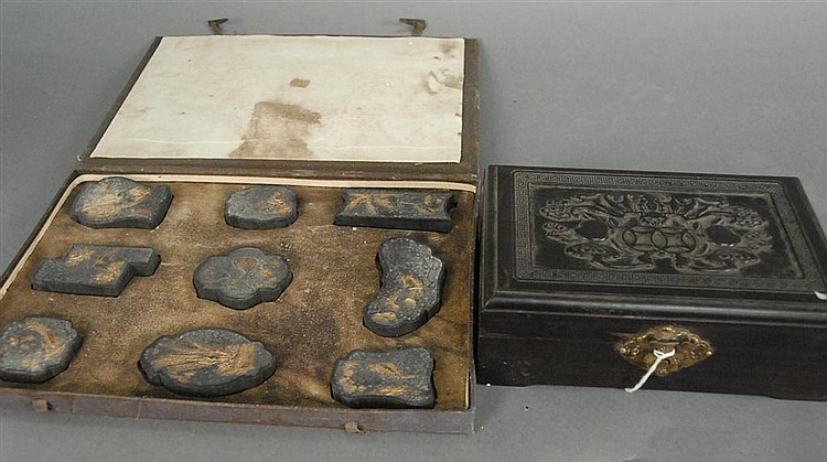 Two Oriental items; carved hardwood box having carved bat with peaches on cover ht. 2in.; lg. 7 1/4in.; dp. 4 3/4in. and fitted box ...