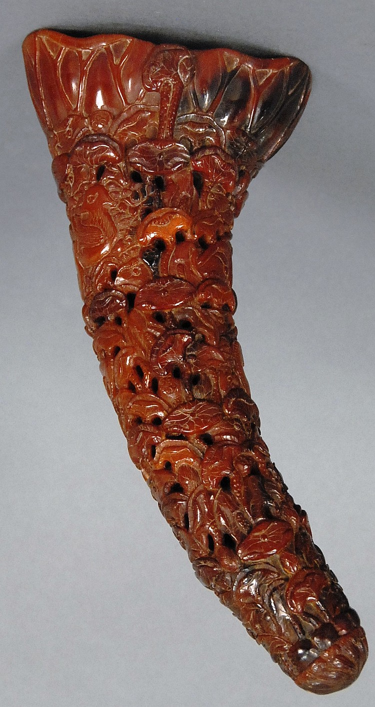 Carved horn with carved lotus all over, lg. 11in.