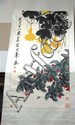 Oriental scroll having painted pear tree and dragon fly, 54