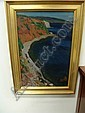 Framed oil painting on artist's board, rugged coastal scene with red bluffs, signed lower left,