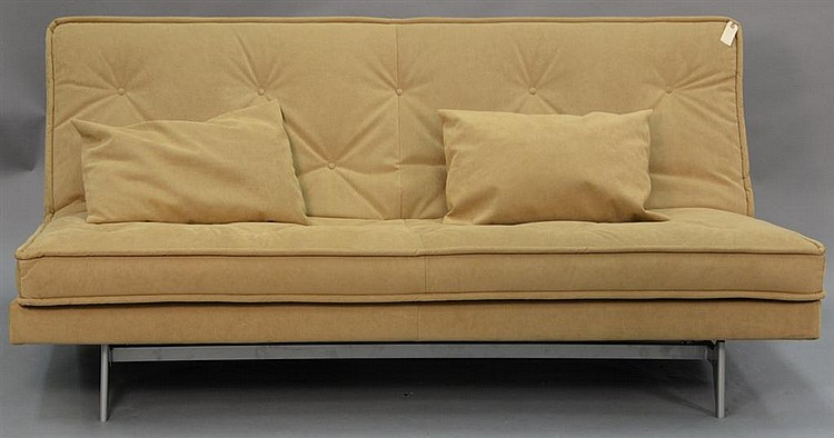 nomade express by didier gomez suede tan futon  new price  2865    nomade express by didier gomez suede tan futon  new price    rh   invaluable