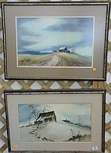 """Two James Camlin (1918-1982) watercolors, a fall landscape and a winter landscape signed lower right James Camlin, sight size 12"""" x ..."""
