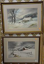 """Two James Camlin (1918-1982) watercolor winter landscapes, signed lower right and lower left James A. Camlin, sight size 13"""" x 20""""."""