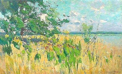 Hagemeister, Karl. Summery lakeside. Oil/canvas/canvas, signed and dated. 72 x 119 cm
