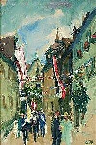 Stirner, Karl: Procession, 1924. Tempera on grey paper. Initials, dated. 35,3x25cm, R.