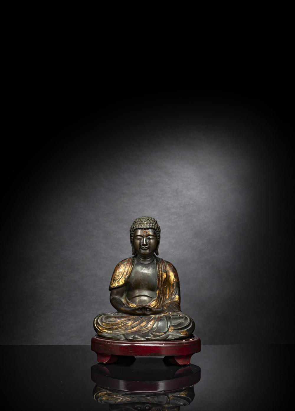 A FIGURE OF AMIDA WITH REMNANTS OF LACQUER GILDING
