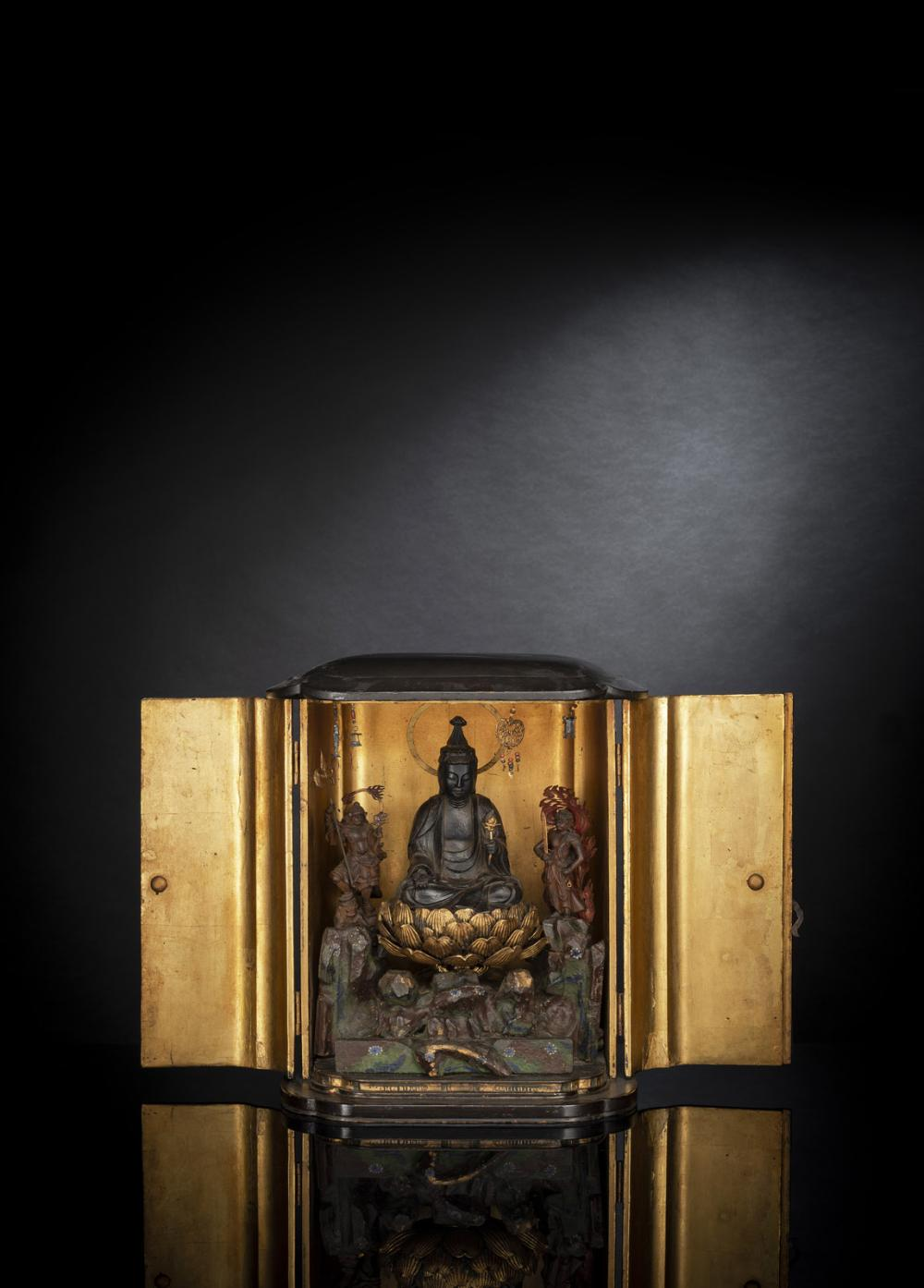 A BLACK-LACQUERED WOOD SHRINE
