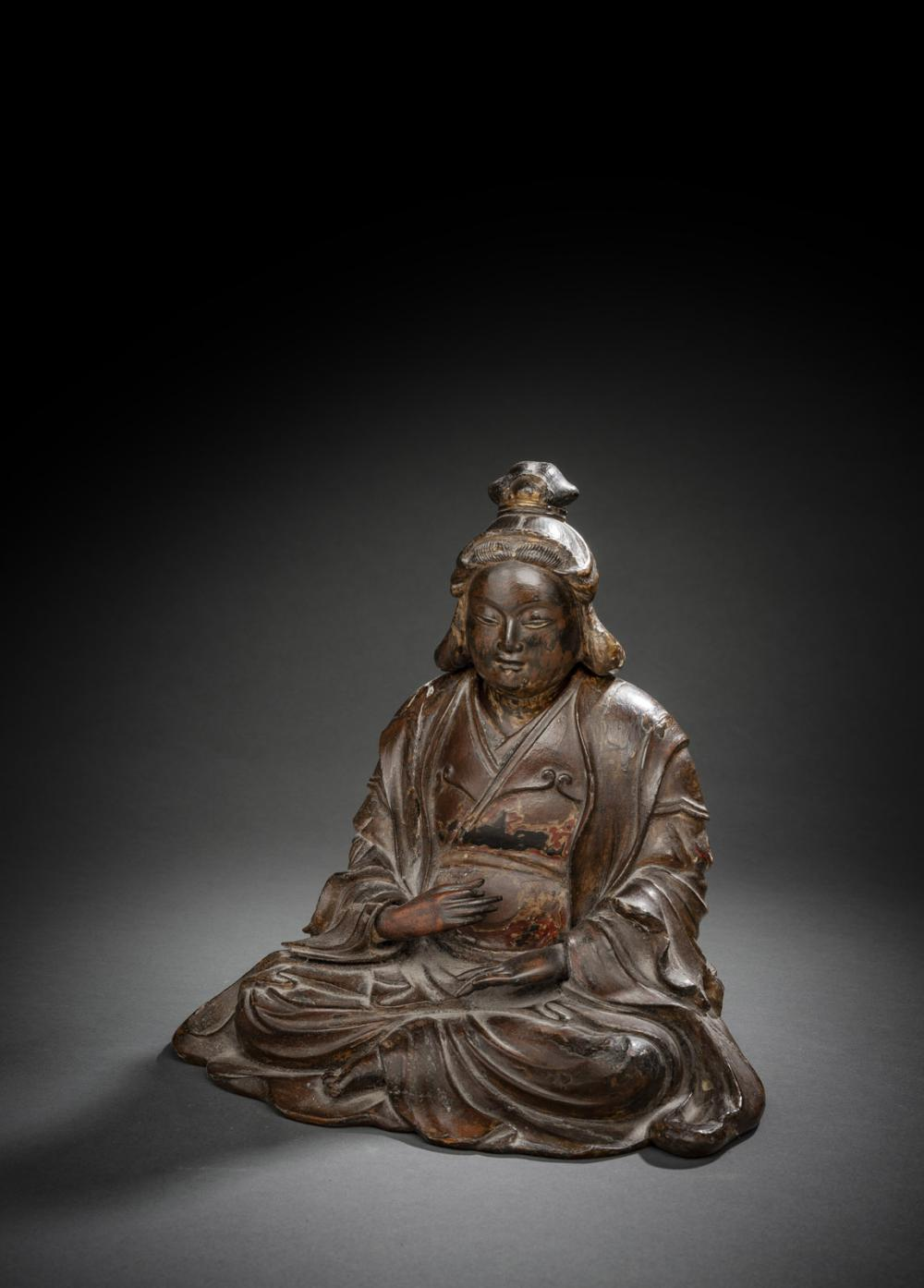 A LACQUERED WOOD FIGURE OF BENTEN